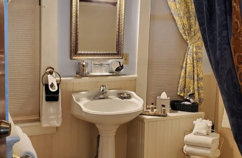 Bathroom featuring white pedestal sink, gold framed mirror and folded towels next to navy shower curtain